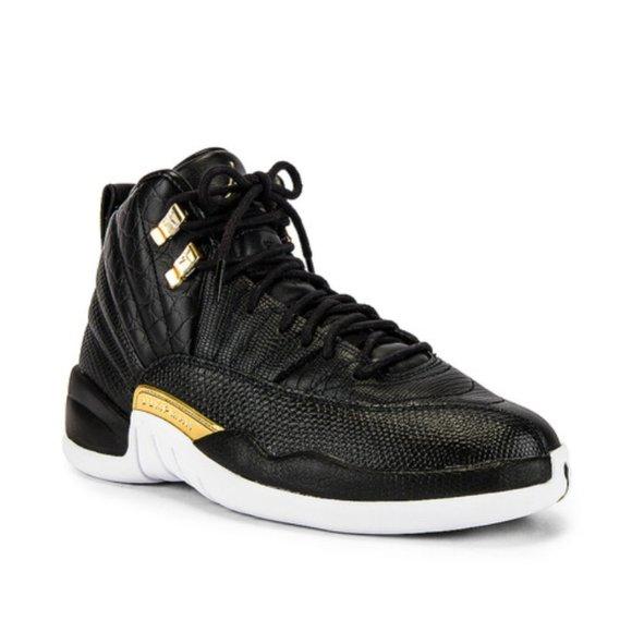 Air Jordan Women's 12 Retro in Black, Gold & White